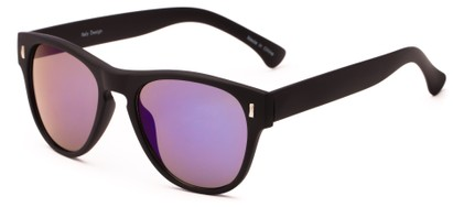 Angle of Mars #3114 in Matte Black Frame with Blue/Purple Mirrored Lenses, Women's and Men's Retro Square Sunglasses