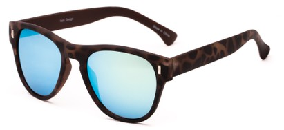 Angle of Mars #3114 in Matte Tortoise Frame with Yellow/Blue Mirrored Lenses, Women's and Men's Retro Square Sunglasses