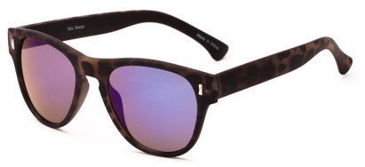 Angle of Mars #3114 in Matte Tortoise Frame with Blue/Purple Mirrored Lenses, Women's and Men's Retro Square Sunglasses