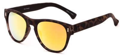 Angle of Mars #3114 in Matte Tortoise Frame with Orange Mirrored Lenses, Women's and Men's Retro Square Sunglasses