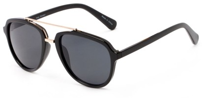 Angle of Thames #1401 in Glossy Black/Gold Frame with Grey Lenses, Women's and Men's Aviator Sunglasses