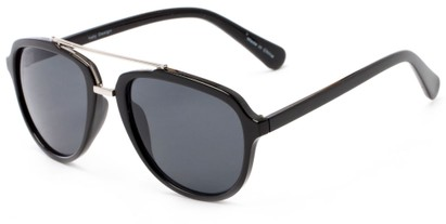 Angle of Thames #1401 in Glossy Black/Silver Frame with Grey Lenses, Women's and Men's Aviator Sunglasses