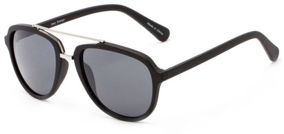 Angle of Thames #1401 in Matte Black/Silver Frame with Grey Lenses, Women's and Men's Aviator Sunglasses