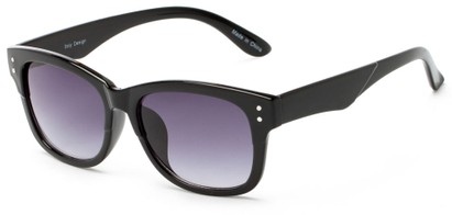 Angle of Canyon #1440 in Black Frame with Smoke Lenses, Women's and Men's Retro Square Sunglasses