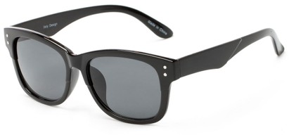 Angle of Canyon #1440 in Black Frame with Grey Lenses, Women's and Men's Retro Square Sunglasses