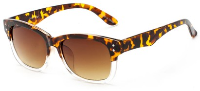 Angle of Canyon #1440 in Tortoise/Clear Frame with Amber Lenses, Women's and Men's Retro Square Sunglasses