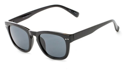 Angle of Norway #1503 in Glossy Black Frame with Smoke Lenses, Women's and Men's Retro Square Sunglasses