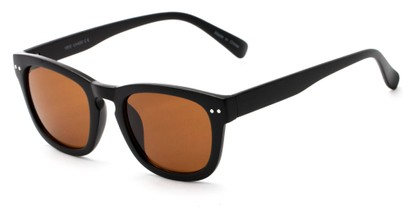 Angle of Norway #1503 in Matte Black Frame with Amber Lenses, Women's and Men's Retro Square Sunglasses