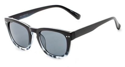 Angle of Norway #1503 in Matte Black/Grey Tortoise Fade Frame with Smoke Lenses, Women's and Men's Retro Square Sunglasses