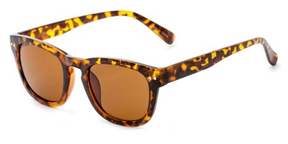 Angle of Norway #1503 in Matte Tortoise Frame with Amber Lenses, Women's and Men's Retro Square Sunglasses