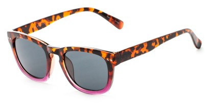 Angle of Norway #1503 in Glossy Tortoise/Pink Fade Frame with Smoke Lenses, Women's and Men's Retro Square Sunglasses