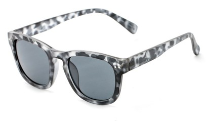 Angle of Norway #1503 in Matte Grey Tortoise Frame with Smoke Lenses, Women's and Men's Retro Square Sunglasses