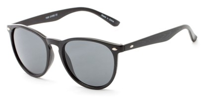Angle of Meadowbrook #1505 in Matte Black Frame with Smoke Lenses, Women's and Men's Round Sunglasses