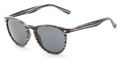 Angle of Meadowbrook #1505 in Matte Black/White Stripe Frame with Smoke Lenses, Women's and Men's Round Sunglasses