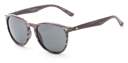 Angle of Meadowbrook #1505 in Glossy Black/Grey Frame with Smoke Lenses, Women's and Men's Round Sunglasses