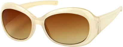 Angle of SW Retro Style #211 in Pearl Beige Frame with Amber Lenses, Women's and Men's