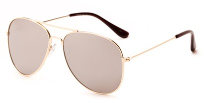 Angle of Royer #1522 in Gold Frame with Silver Mirror Lenses, Women's and Men's Aviator Sunglasses