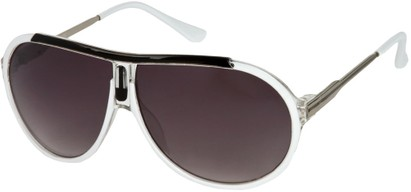 Angle of SW Oversized Aviator Style #6133 in White/Silver Frame, Women's and Men's