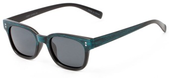 Angle of Argun #1550 in Black/Blue Frame with Grey Lenses, Women's and Men's Retro Square Sunglasses