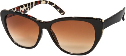 Angle of SW Oversized Cat Eye Style #9084 in Black/Red Cheetah Print Frame, Women's and Men's