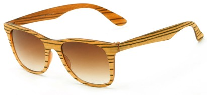 Angle of Pioneer #1557 in Blonde Frame with Amber Lenses, Women's and Men's Retro Square Sunglasses