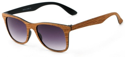Angle of Pioneer #1557 in Chestnut Frame with Grey Lenses, Women's and Men's Retro Square Sunglasses