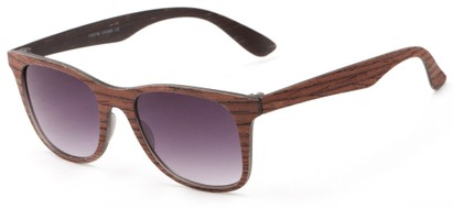 Angle of Pioneer #1557 in Chocolate Frame with Grey Lenses, Women's and Men's Retro Square Sunglasses