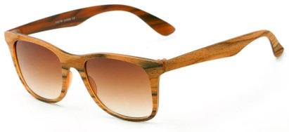 Angle of Pioneer #1557 in Redwood Frame with Amber Lenses, Women's and Men's Retro Square Sunglasses