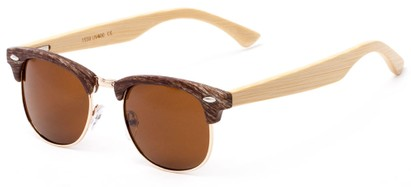 Angle of Barlow #1599 in Brown/Gold Frame with Amber Lenses, Women's and Men's Browline Sunglasses