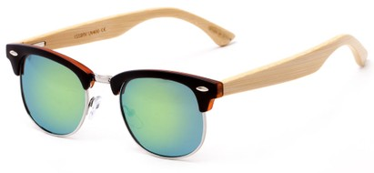 Angle of Ramsey #1159 in Matte Black Frame with Green Mirrored Lenses, Women's and Men's Browline Sunglasses