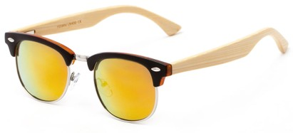 Angle of Ramsey #1159 in Matte Black Frame with Yellow/Orange Mirrored Lenses, Women's and Men's Browline Sunglasses