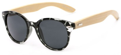 Angle of Rainer #1560 in Black/Grey Tortoise Frame with Grey Lenses, Women's Round Sunglasses