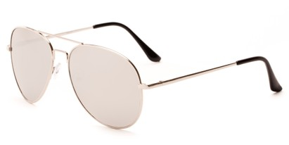 Angle of Astro #1517 in Silver Frame with Silver Mirrored Lenses, Men's Aviator Sunglasses