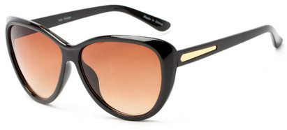 Angle of Dawson #1512 in Black Frame with Amber Lenses, Women's Cat Eye Sunglasses