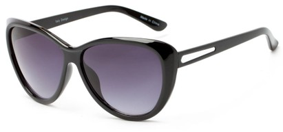 Angle of Dawson #1512 in Black Frame with Smoke Lenses, Women's Cat Eye Sunglasses