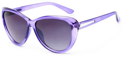 Angle of Dawson #1512 in Purple Frame with Grey Lenses, Women's Cat Eye Sunglasses