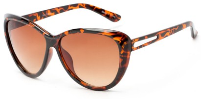 Angle of Dawson #1512 in Tortoise Frame with Amber Lenses, Women's Cat Eye Sunglasses