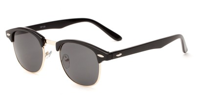 Angle of Salt Lake #1529 in Glossy Black/Gold Frame with Grey Lenses, Women's and Men's Browline Sunglasses