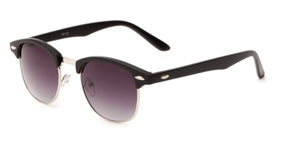 Angle of Salt Lake #1529 in Matte Black/Silver Frame with Smoke Gradient Lenses, Women's and Men's Browline Sunglasses