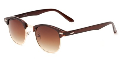 Angle of Salt Lake #1529 in Brown/Gold Frame with Amber Gradient Lenses, Women's and Men's Browline Sunglasses