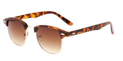 Angle of Salt Lake #1529 in Tortoise/Gold Frame with Amber Gradient Lenses, Women's and Men's Browline Sunglasses