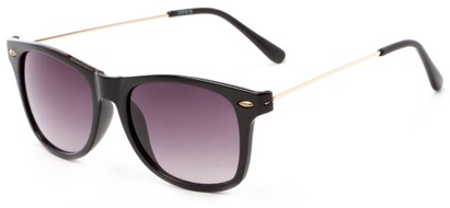 Angle of Gila #1591 in Black/Gold Frame with Grey Lenses, Women's and Men's Retro Square Sunglasses