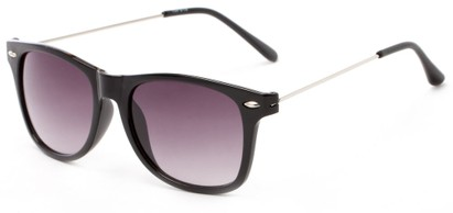 Angle of Gila #1591 in Black/Silver Frame with Grey Lenses, Women's and Men's Retro Square Sunglasses