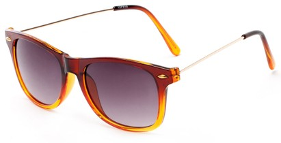Angle of Gila #1591 in Brown/Gold Frame with Amber Lenses, Women's and Men's Retro Square Sunglasses