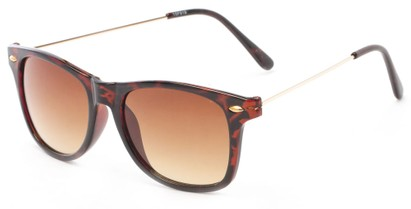 Angle of Gila #1591 in Tortoise/Gold Frame with Amber Lenses, Women's and Men's Retro Square Sunglasses