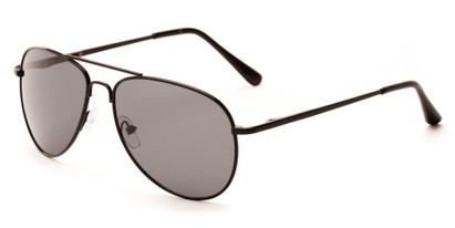 Angle of Hawksbill #15902 in Black Frame with Grey Lenses, Women's and Men's Aviator Sunglasses