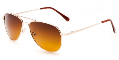 Angle of Hawksbill #15902 in Gold Frame with Brown Lenses, Women's and Men's Aviator Sunglasses