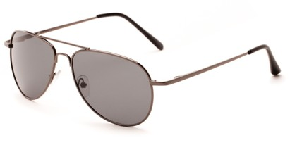 Angle of Hawksbill #15902 in Grey Frame with Grey Lenses, Women's and Men's Aviator Sunglasses
