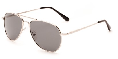 Angle of Hawksbill #15902 in Silver Frame with Grey Lenses, Women's and Men's Aviator Sunglasses