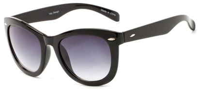 Angle of Taurus #1511 in Black Frame with Smoke Lenses, Women's Retro Square Sunglasses